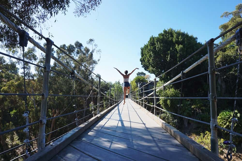 Au Pair on a suspension bridge in San Diego